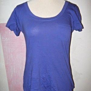 Grape Purple Round Neck 1 Pocket Stretch Shirt XL